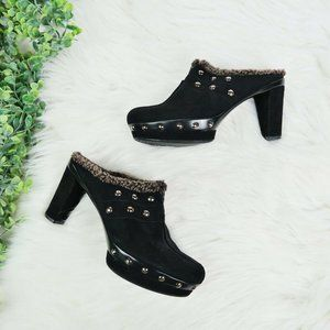 Stuart Weitzman Suede Studded Shearling Mules 7 M